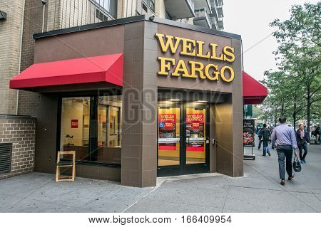 New York, September 28, 2016: A Wells Fargo retail location in Manhattan.