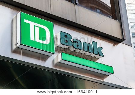 New York November 23 2016: A TD Bank sign over one of the bank's branch in New York City.