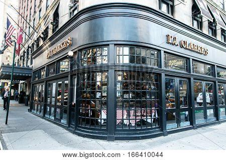 New York November 23 2016: The windows of the PJ Clarke's restaurant on Upper West Side near Lincoln Center.