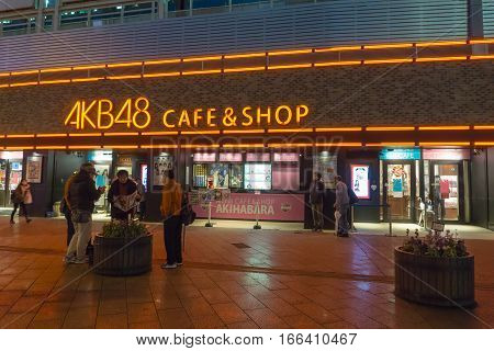 Tokyo Japan - November 19 2016 : The AKB48 OFFICIAL CAFE & SHOP.features a vast array of items from AKB48 Japan's most popular all girl group as well as special menu items.