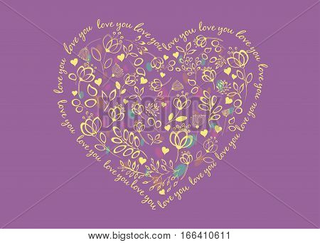 Floral Heart. Love you. purple background. Yellow graceful flowers with drawing effect. Colorful watercolor blurs. Vector illustration