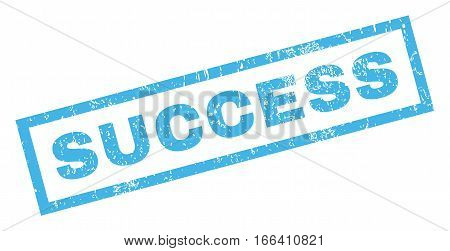 Success text rubber seal stamp watermark. Tag inside rectangular banner with grunge design and scratched texture. Inclined vector blue ink emblem on a white background.
