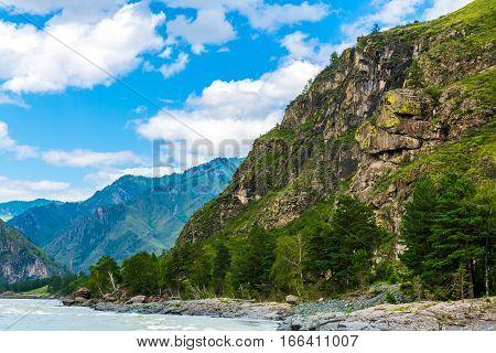 Mountain River Katun, Russia, Siberia, Altai Mountains, Katun Ridge