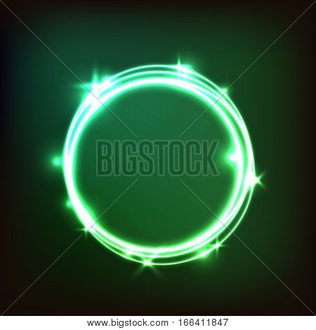 Abstract glowing green background with circles, stock vector