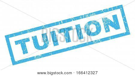Tuition text rubber seal stamp watermark. Tag inside rectangular shape with grunge design and dirty texture. Inclined vector blue ink sign on a white background.