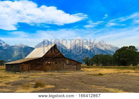 Old Mormon Homestead set beautifully before the Grand Tetons