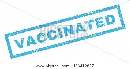 Vaccinated text rubber seal stamp watermark. Caption inside rectangular shape with grunge design and dust texture. Inclined vector blue ink sticker on a white background.
