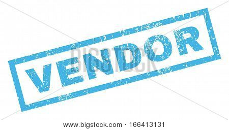 Vendor text rubber seal stamp watermark. Caption inside rectangular banner with grunge design and unclean texture. Inclined vector blue ink emblem on a white background.