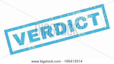 Verdict text rubber seal stamp watermark. Caption inside rectangular shape with grunge design and dust texture. Inclined vector blue ink emblem on a white background.