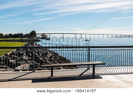 View of the Coronado Bridge and San Diego bay as seen from Embarcadero Marina Park North in San Diego, California.