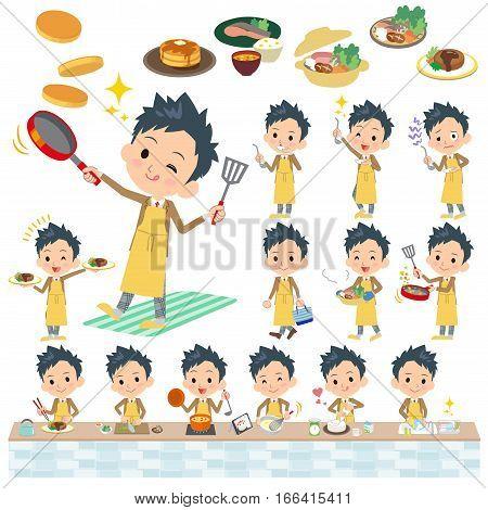 Set of various poses of school boy Brown Blazer cooking