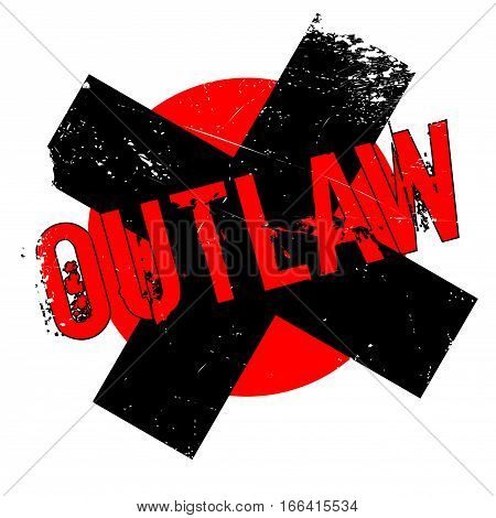 Outlaw rubber stamp. Grunge design with dust scratches. Effects can be easily removed for a clean, crisp look. Color is easily changed.