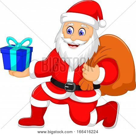 cute santa claus cartoon holding a gift for you design