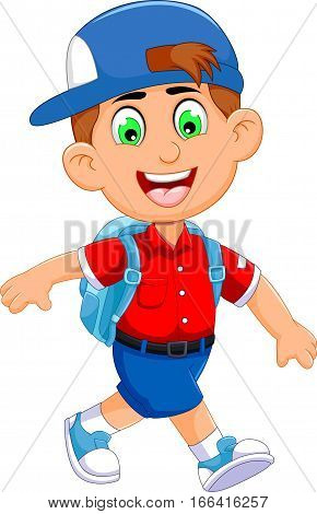 funny little boy cartoon going to picnic for you design