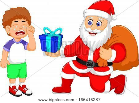 funny Santa Claus cartoon giving a gift to little boy crying