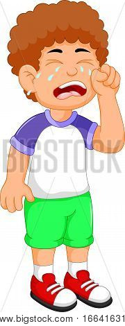 cute little boy cartoon crying for you design