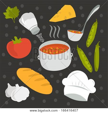 Vector set - dishes and food. Bon appetit!
