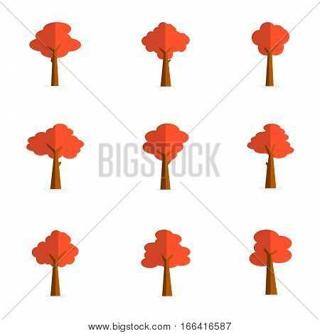 Illustration of red tree various collection stock