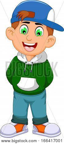cute little boy cartoon standing for you design