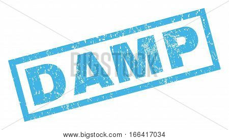 Damp text rubber seal stamp watermark. Caption inside rectangular banner with grunge design and dust texture. Inclined vector blue ink sign on a white background.