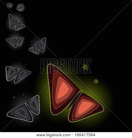 Fairytale luminous butterflies on dark background. Vectorector illustration