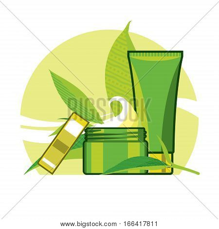 detoxifying cream and tonic for the care from green leaf, green yellow background, ads template, mockup for ads or magazine