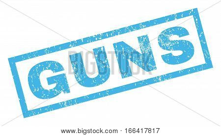 Guns text rubber seal stamp watermark. Caption inside rectangular shape with grunge design and dirty texture. Inclined vector blue ink sticker on a white background.