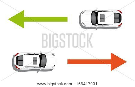 Two white cars isolated on white with green and red arrows. Two-way traffic
