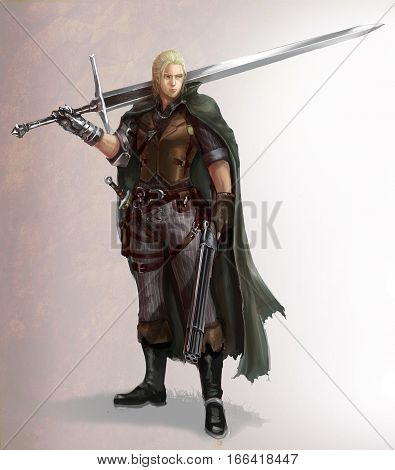 Character cartoon illustration of a male fantasy warrior with sword and shotgun. Character design with hunter and warrior in fantasy fiction concept.