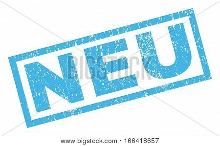 Neu text rubber seal stamp watermark. Caption inside rectangular shape with grunge design and unclean texture. Inclined vector blue ink sign on a white background.
