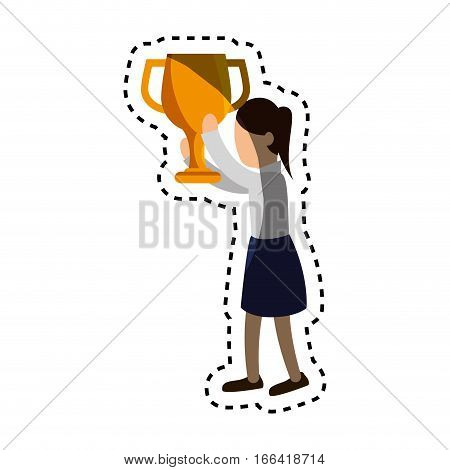 businesswoman character avatar with trophy vector illustration design
