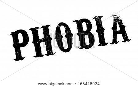 Phobia rubber stamp. Grunge design with dust scratches. Effects can be easily removed for a clean, crisp look. Color is easily changed.