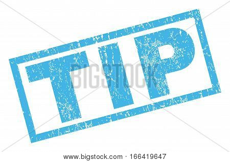 Tip text rubber seal stamp watermark. Tag inside rectangular banner with grunge design and unclean texture. Inclined vector blue ink sticker on a white background.