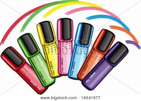 Illustration of hilighter pens on white background