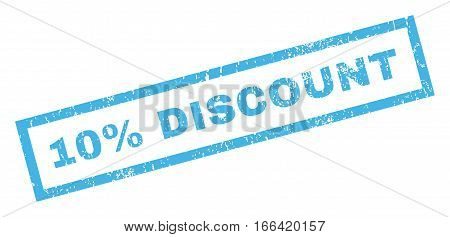 10 Percent Discount text rubber seal stamp watermark. Caption inside rectangular shape with grunge design and dust texture. Inclined vector blue ink sticker on a white background.