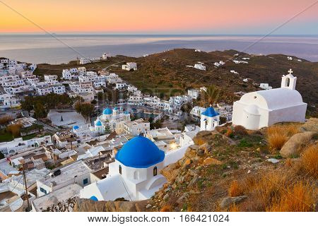 View of Chora on Ios island early in the morning.