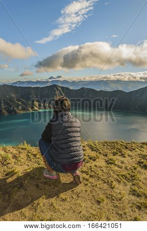 Young Woman Watching The View At Quilotoa Lake