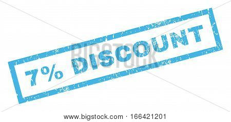7 Percent Discount text rubber seal stamp watermark. Tag inside rectangular banner with grunge design and scratched texture. Inclined vector blue ink sign on a white background.