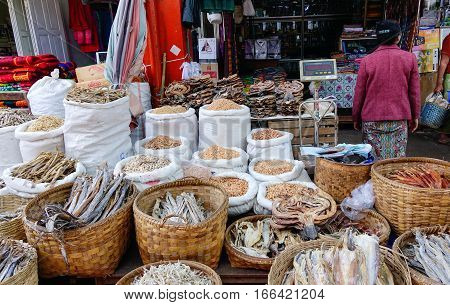 Traditional Asian Fish Market Stall Full Of Dried Seafood