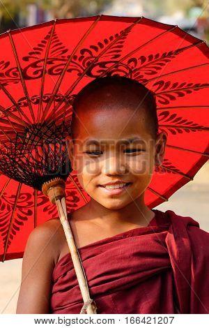 Portrait Of Burmese Monk In Bagan, Myanmar