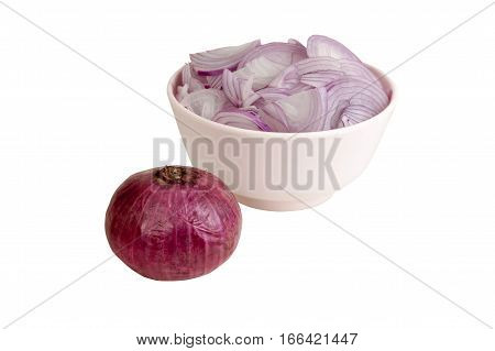 Sliced shallot onion in a pink bowl on white background object with work paths