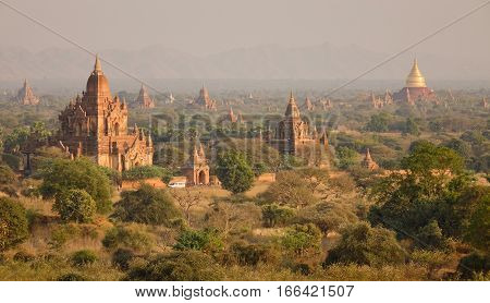 Landscape Of Buddhist Temples In Bagan