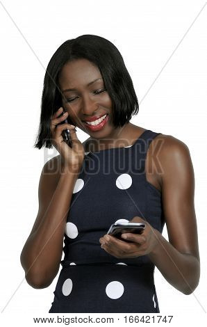 Beautiful woman talking texting and multitasking while juggling multiple cell phones and conversations