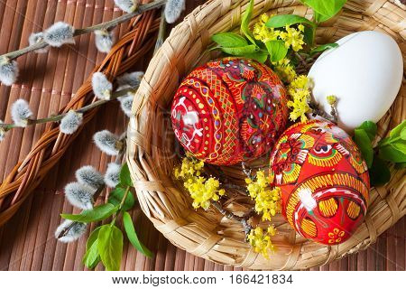 Traditional Czech easter decoration - colorful painted red eggs in wicker nest with pussycats and dogwood flower. Spring easter holiday arrangement.