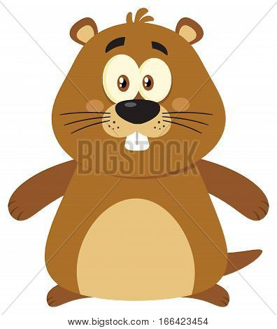 Cute Marmot Cartoon Mascot Character. Illustration Flat Design Isolated On White Background