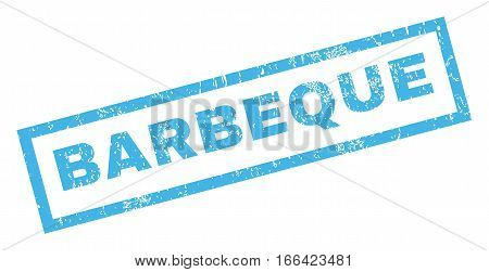 Barbeque text rubber seal stamp watermark. Caption inside rectangular banner with grunge design and dust texture. Inclined vector blue ink sign on a white background.