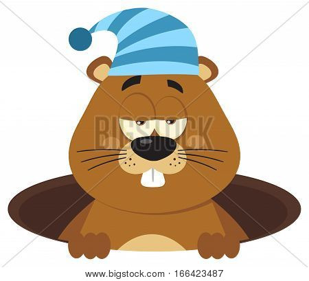 Cute Marmot Cartoon Mascot Character With Sleeping Hat Emerging From A Hole. Illustration Flat Design Isolated On White Background