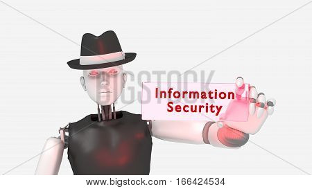 Female hacker black hat robot holding a glass sign with the word information security isolated on white 3D illustration