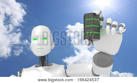 Female robot presents green glowing server in front of blue sunny sky big data green energy concept 3D illustration