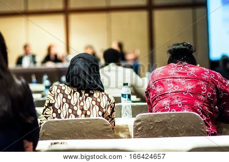 Behind The Participants In The Meeting Room While The Meeting Is.
